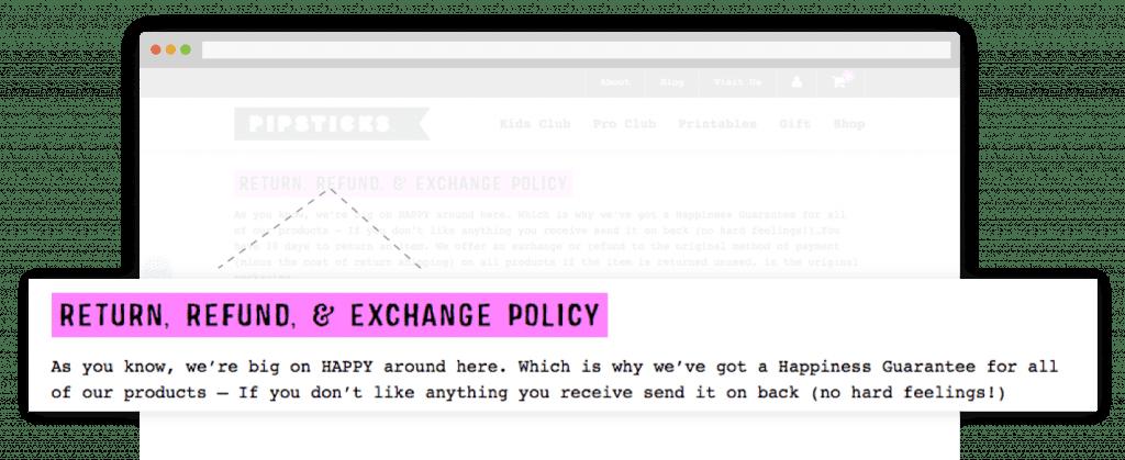 Pipsticks return policy